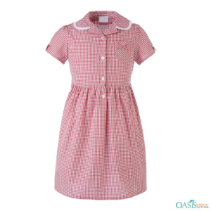 Soft Red Kids Checked Frock