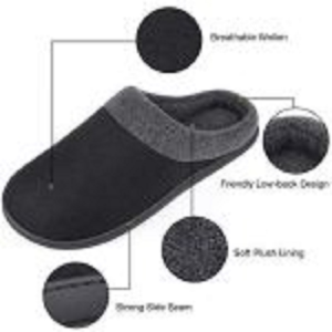 HomeIdeas Men's Woolen Fabric Memory Foam Anti-Slip