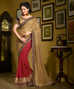 Golden Red Half Half Saree - online shopping india