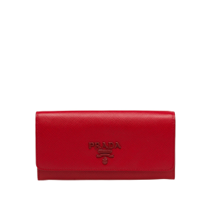 Prada 1MH132 Lettering Saffiano Leather Wallet In Red