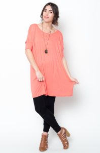 coral short sleeve ballet tunic tops