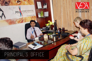 Principal office with guests fro Sheridon College