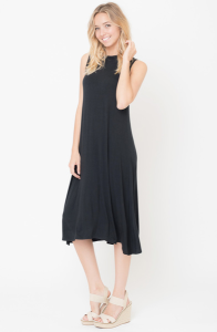 Buy Now Black Solid Swing Tank Midi Dress Online $26 -@caralase.com