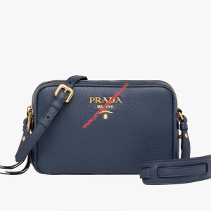 Prada 1BH082 Calf Leather Shoulder Bag In Navy Blue
