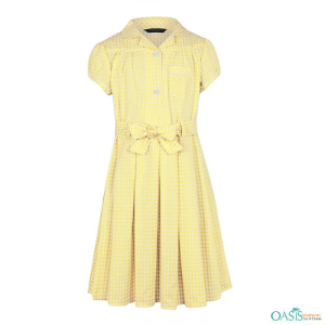 Pale Yellow Checked School Dress