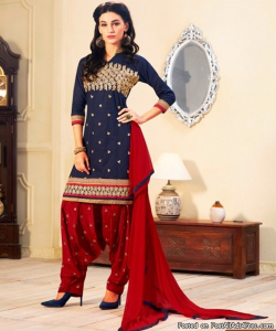 online shopping india - Blue Red Semi Stitched Salwar Kameez With Dupatta