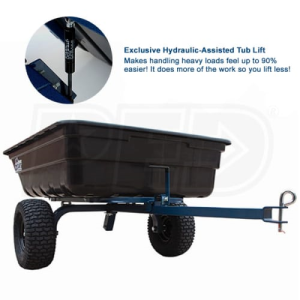 OxCart Hydraulic-Assisted 12 Caubic Foot Poly Dump Cart w/ Swivel Dump