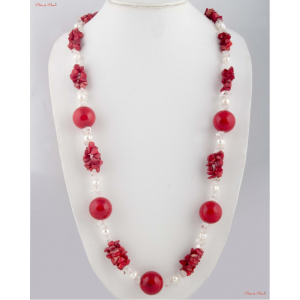 Fashion Necklaces - Milky white Pearl and Ruby woven