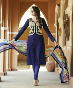 online shopping india - Bhagalpuri Silk Navy Blue Semi Stitched Dress