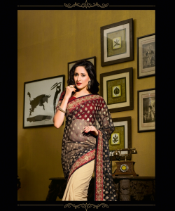 online shopping india - Black Cream Half Half Saree