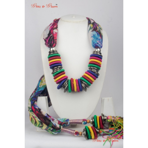 Jewelled Scarf - Rainbow-coloured neck piece made with flat beads, attached to a floral pattered sto