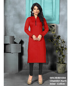Simply Classy Chanderi Kurti With Cotton Inner(Red)