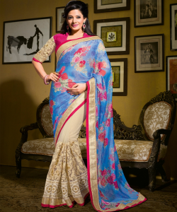 online shopping india -Blue Cream Half Half Saree
