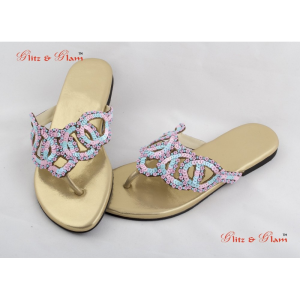 Fashion Sandals - Matt gold tone chappals designed with baby pink and sky blue beads in zigzag patte