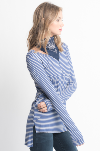 Shop for Striped Long Sleeve Hi Lo Button Down Tunic Online on Caralase.com