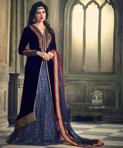 Designer Velvet Straight Semi Stitched Royal Blue Salwar Kameez