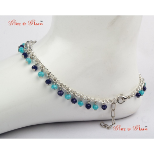 Anklets - Adjustable custom silver chain anklet with shining shades of blue Sapphire