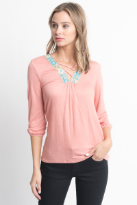 Shop for Cross Front Blouse -Criss Cross Front Floral Trim Elastic Cuff Top on caralase.com