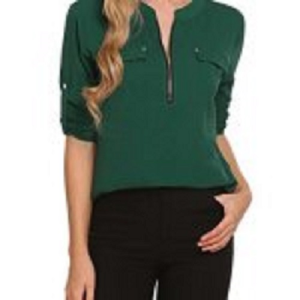 ANGVNS Women Half Sleeve V Neck Casual Shirt