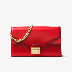 MICHAEL Michael Kors Sloan Leather Chain Wallet Red