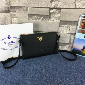 Prada 1BH050 Calfskin Leather Shoulder Bag In Black