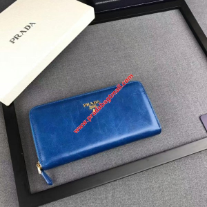 Prada 1M0506 Lettering Logo Leather Wallet In Blue