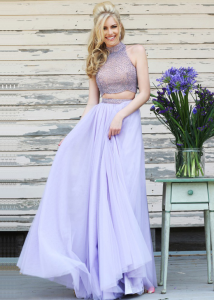 Two Piece High Neck Beaded Flowing Prom Dress