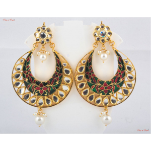Earrings - Studded with kundan and uniquely designed