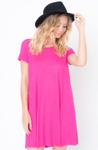 Shop for Flared Tee Dress Scoop Neck and Short Sleeves On Caralase.com