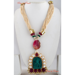 Necklaces - Many layered beige bead neck piece