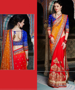 Orange & red Saree - online shopping india