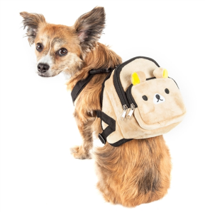 Teddy Tails Dual Pocketed Compartmental Animated Dog Harness Backpack - Brown