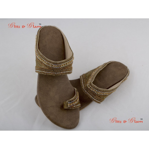 Fashion Sandals - Indio-western chappals designed with golden beads