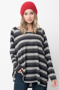 Shop for Hi Lo Long Sleeve Black Striped Sweater Online on caralase.com