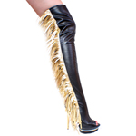 Thigh High Boot Gold Black Leather