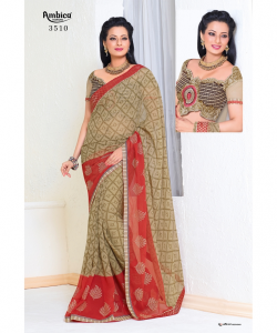 online shopping india - Light Coffe Red Georgette Printed Saree