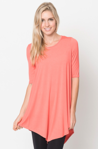 Quarter sleeve tops coral