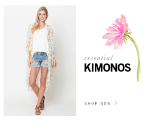 25% off on essential kimonos use code flowerpower