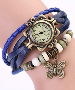 Vintage Blue Bracelet Butterfly Analog Watch For Women