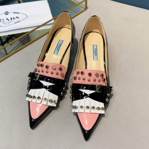 Prada Women Patent Leather Studded Sling Pumps In Black