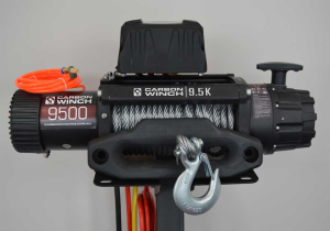 Carbon 9.5K 9500lb High Speed Electric Winch with Steel Cable | Mercury 4X4