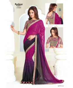 online shopping india - Magenta Blue Georgette Printed Saree