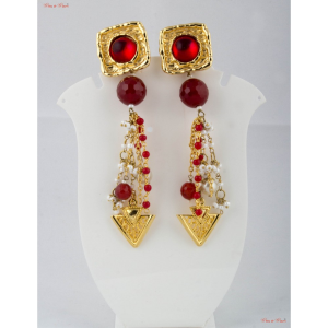 Fashion Jewellery Earrings - Brown garnets and blood red rubies set in brass and interwoven