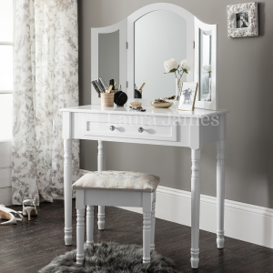 White Dressing Table, Mirror & Stool Set Dresser