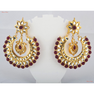 Earrings - Half circled earrings, studded with deep maroon-coloured beads