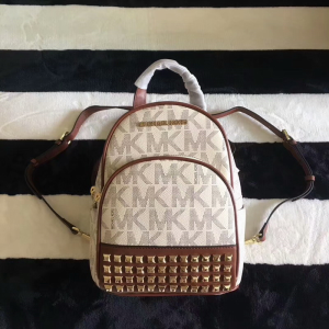 MICHAEL Michael Kors Abbey Extra-Small Studded Logo Backpack White