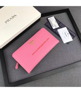 Prada 1M1265 Lettering Logo Saffiano Leather Wallet In Pink