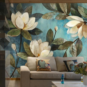 Jass London Vintage Teal Lotus Wall Mural
