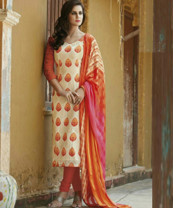 online shopping india - Bhagalpuri Silk Orange Semi Stitched Dress