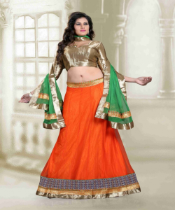 online shopping india - Designer Orange Lehenga Choli by Sunder Creation